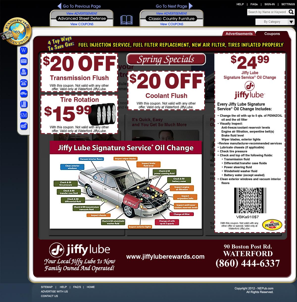 JiffyLube coupons.